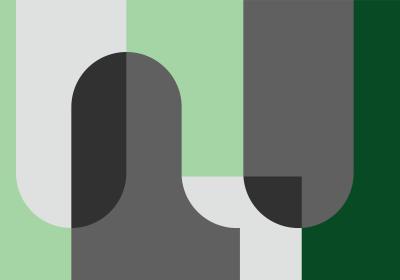 Fototapeta Bloki geometryczne w odcieniach zieleni i szarości