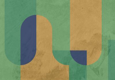 Fototapeta Bloki geometryczne w odcieniach zieleni i żółci z efektem betonowej tekstury