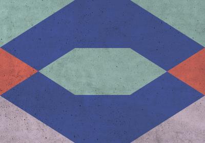 Fototapeta Figury geometryczne z dominacją fioletu na betonowej teksturze