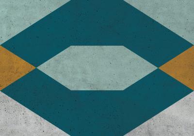 Fototapeta Figury geometryczne z dominacją turkusu na betonowej teksturze