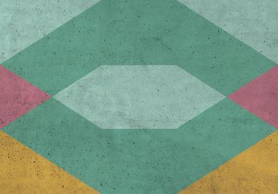 Fototapeta Figury geometryczne z dominacją zieleni na betonowej teksturze