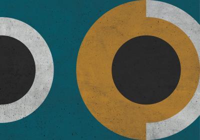 Fototapeta Koła na turkusowym tle i teksturze betonu