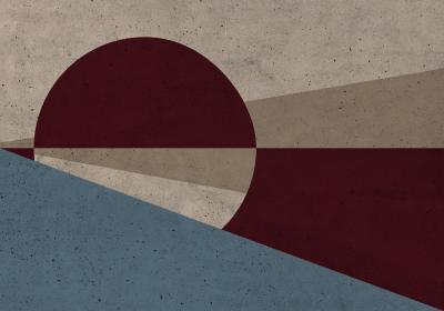 Fototapeta Koło i trójkąty w kolorach jesieni z efektem betonu