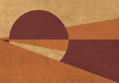 Fototapeta Koło i trójkąty w odcieniach pomarańczu na fakturze betonu