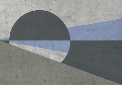 Fototapeta Koło i trójkąty w odcieniach szarości z efektem betonu