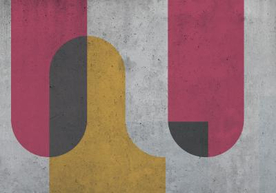 Fototapeta Kolorowa geometria na betonowym tle