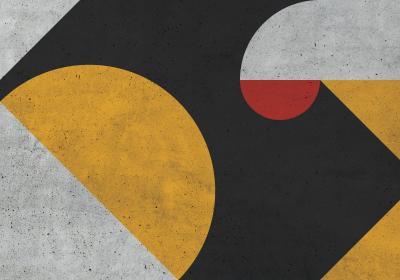 Fototapeta Kompozycja geometryczna z akcentem czerwieni o fakturze betonu