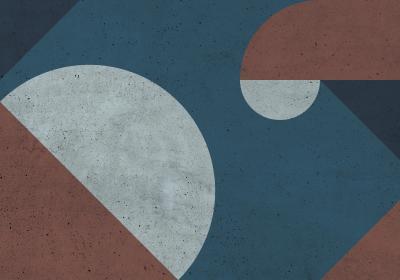 Fototapeta Kompozycja geometryczna z akcentem granatu o fakturze betonu