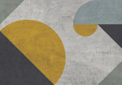Fototapeta Kompozycja geometryczna z akcentem żółci o fakturze betonu