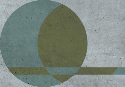 Fototapeta Kompozycja trójkolorowa z kołem na betonowej teksturze