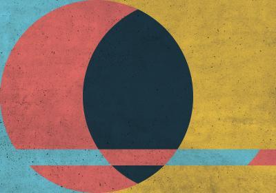 Fototapeta Kompozycja z kołem na kolorowym tle i fakturą betonu