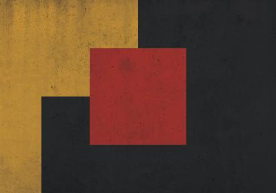 Fototapeta Kwadrat na żółto-czarnym tle na betonowej teksturze