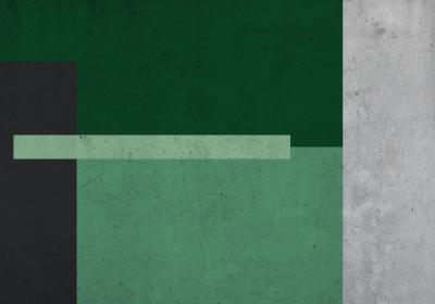 Fototapeta Prostokąty w zieleni z efektem betonu