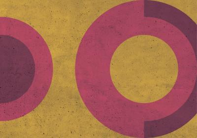 Fototapeta Różowe koła na żółtym tle i betonowej teksturze