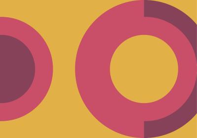 Fototapeta Różowe koła na żółtym tle