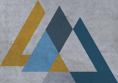Fototapeta Sekwencja z kolorowymi trójkątami w stylu industrialnym