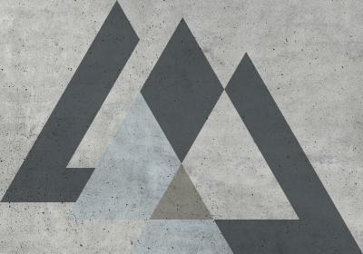 Fototapeta Sekwencja z szarymi trójkątami na fakturze betonowej ściany
