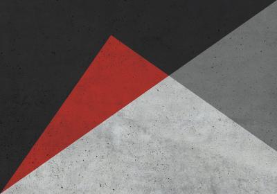 Fototapeta Trójkąty różnoboczne z dominującą czernią na betonowym tle