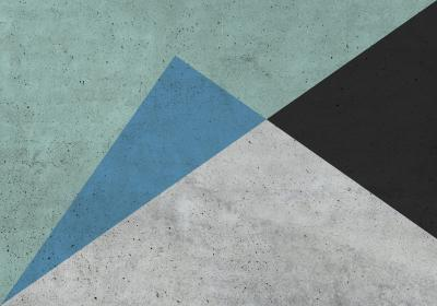 Fototapeta Trójkąty różnoboczne z dominującą zielenią na betonowym tle