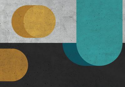 Fototapeta Żółto-turkusowa kompozycja na teksturze betonu