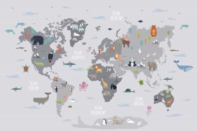 Fototapeta Mapa świata dziecięca po polsku