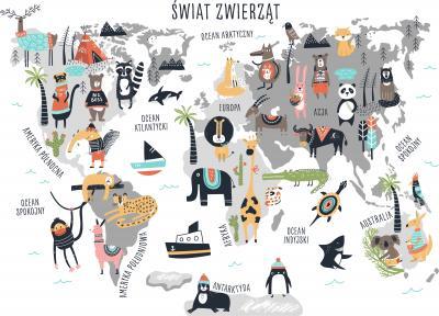 Fototapeta Mapa po polsku świat zwierząt
