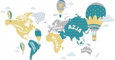Fototapeta Mapa po polsku z balonami