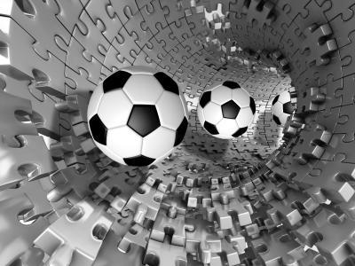 Fototapeta Piłki nożne w tunelu 3d