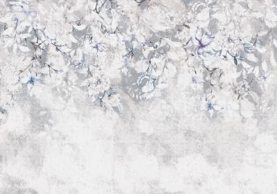 Fototapeta Jasne kwiaty na koronkowej teksturze