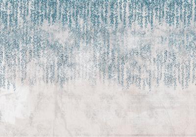 Fototapeta Liście na betonowej teksturze