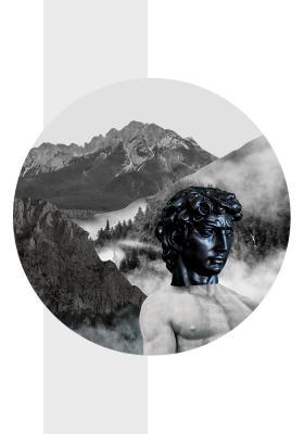 Plakat Antyczna rzeźba w górach