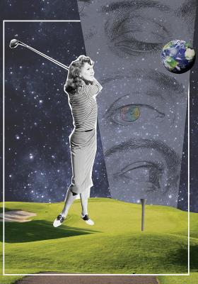 Plakat Golfistka w kosmosie