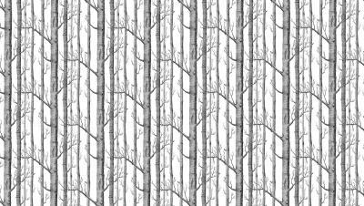 Naklejka Pnie drzew ilustracja z lasem