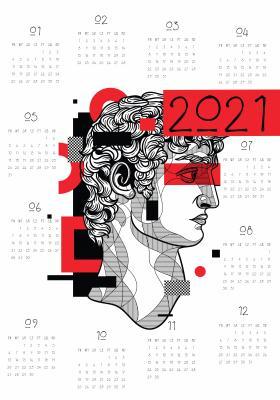 Plakat Kalendarz 2021 w stylu antycznym