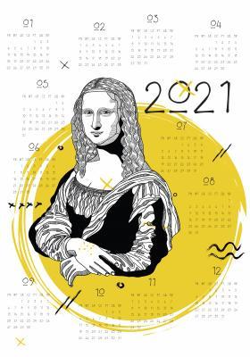 Plakat Kalendarz 2021 z żółtym motywem