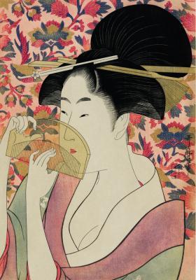 Plakat Japonka trzymająca grzebień