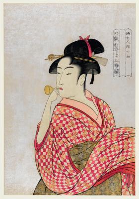 Plakat Japońska kobieta ze szklaną fajką