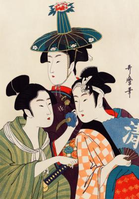 Plakat Kobiety w tradycyjnych kolorowych strojach