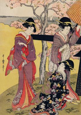 Plakat Krajobraz z kwitnącą wiśnią i kobietami