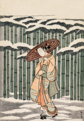 Plakat Spacer przy pędach bambusa