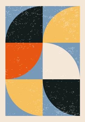Plakat Figury półokrągłe w czterech kolorach