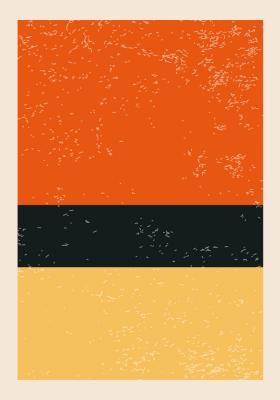 Plakat Geometryczna kompozycja trójkolorowa