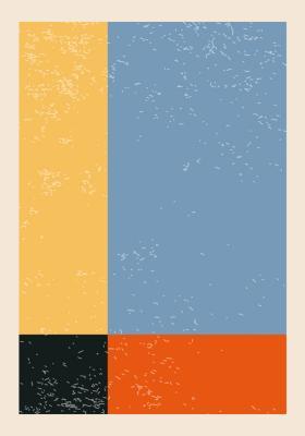 Plakat Kwadrat i trzy prostokąty