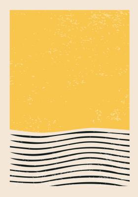 Plakat Łagodne fale z żółtym prostokątem