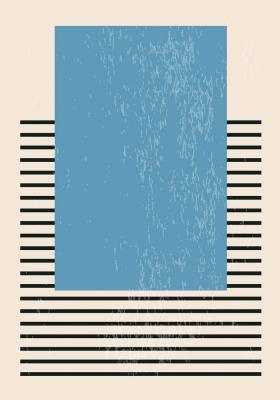 Plakat Niebieski prostokąt na kreskach