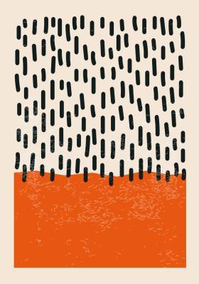 Plakat Podłużne cętki z pomarańczowym akcentem