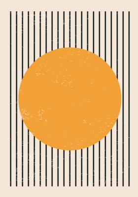 Plakat Żółte koło na paskach
