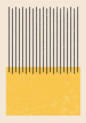 Plakat Żółty prostokąt i czarne kreski