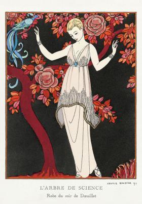 Plakat Dama w beżowej sukni z błękitnym kamieniem