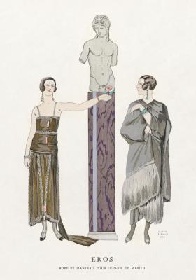 Plakat Damy w sukniach i kolczykach